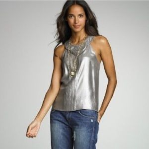 J. Crew 100% Silk High Neck Pleated Silver Blouse